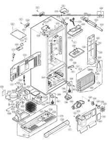 Technical drawing of a refrigerator in parts.